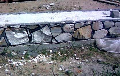 фундамент для забора из камня
