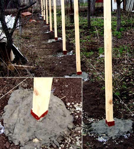 бетонирование деревянного столба