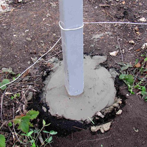 бетонирование столба из профиля