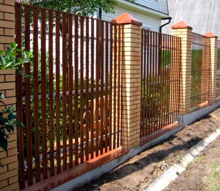 комбинированный забор из вагонки
