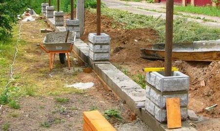 постройка столбов из блоков