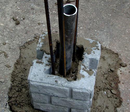 заливка бетоном блока