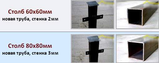 размер сечения столба