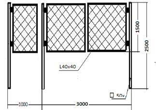 схема ворот из сетки