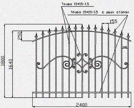 чертеж сваренной ограды