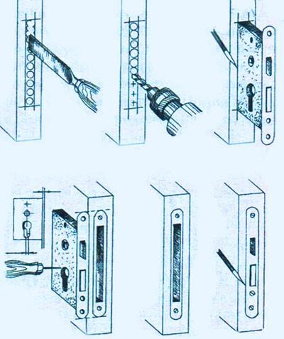 Врезка замка в входную дверь своими руками 46