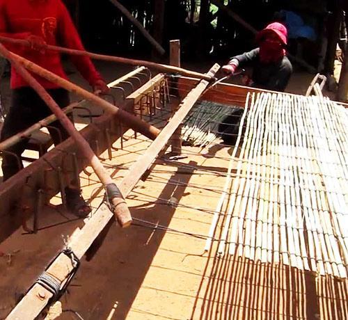 вязание камышовых матов