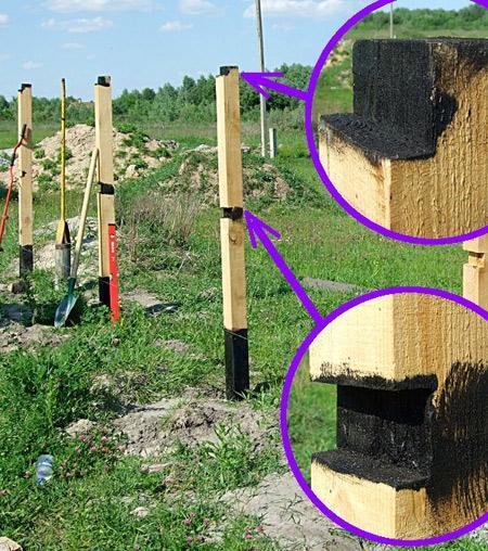 обработка гудроном столбов