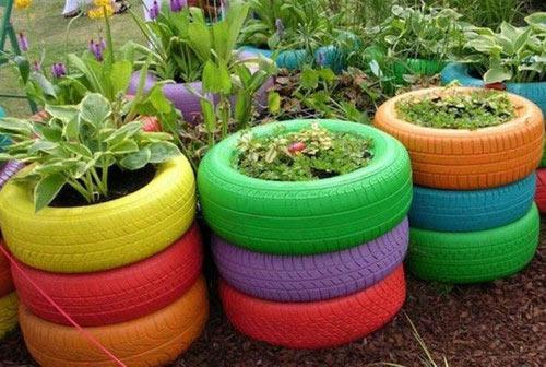 изгородь шины цветы