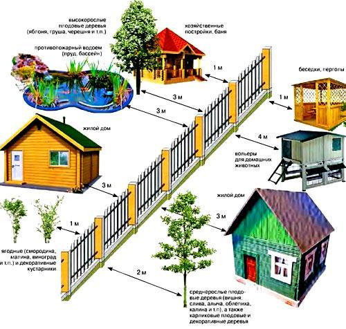 Что Расстояние от границы земельного участка до построек того